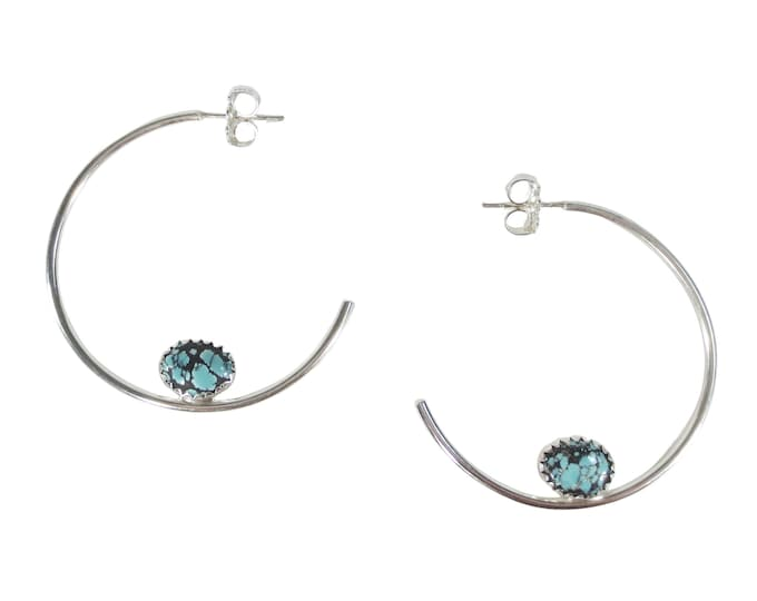 "Boho Turquoise 1 1/2"" Hoop Earrings"