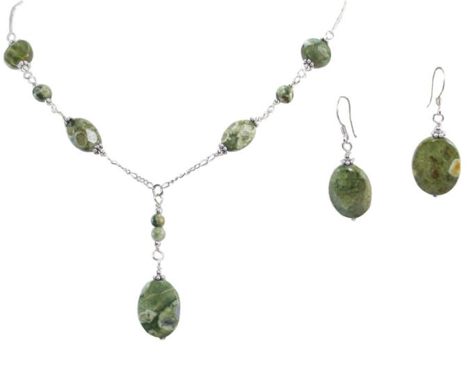 Rain Forest Jasper Oval Necklace & Earrings