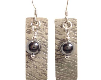 Hand Hammered Texture #1 Earrings with 6mm Bead