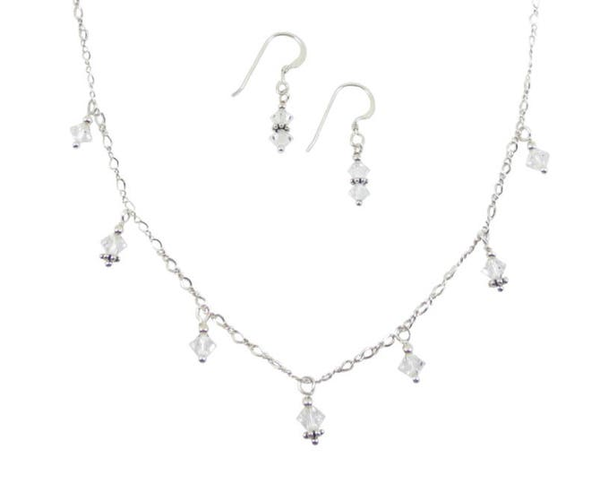 Crystal 7-Drop Necklace & Earrings