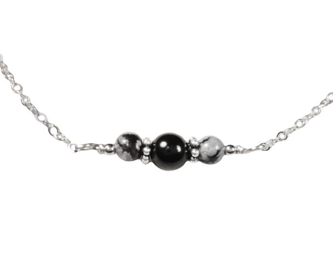 Black Onyx - Snowflake Obsidian Necklace - 4 & 6 mm - Sterling Silver - Gold Fill