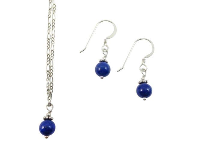 Lapis Lazuli 6 mm Drop Jewelry Set on Sterling Silver or 14k Golf Fill