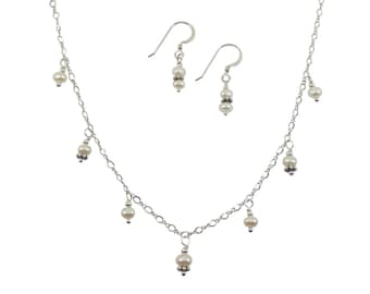 Fresh Water Pearls Necklace & Earrings Set - 4 mm