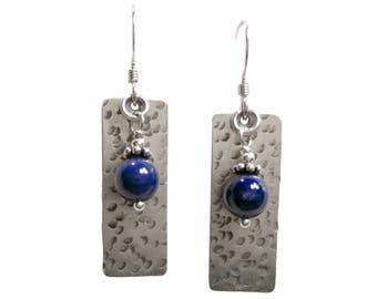 Bead Earrings - Gemstone Earrings - Fresh Water Pearl Earrings - Dangle Earrings - 6mm Bead & Texture #3 - Valentine's Gift