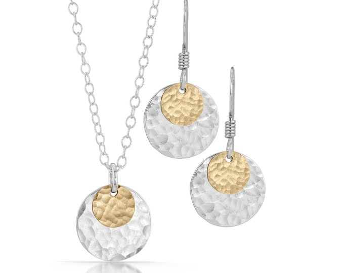 Mixed Metal Disc Necklace and Earrings Set