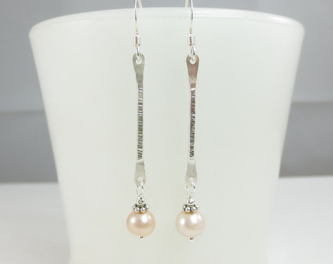 Bar Earrings With 6 mm Bead Drop