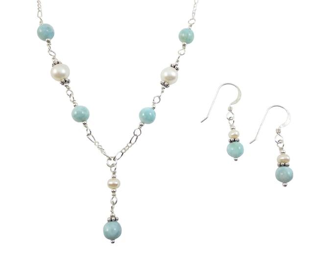 Larimar & Fresh Water Pearls Jewelry Set