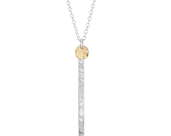 Dot Disc on Skinny Bar Necklace