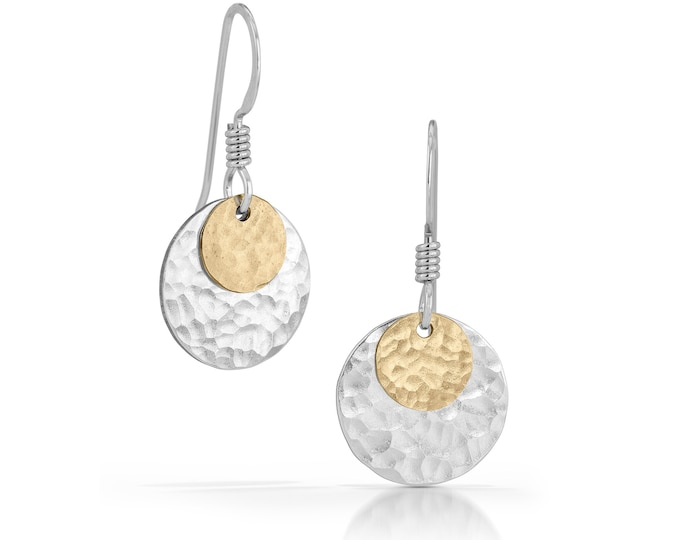 Silver and Gold Mixed Metal Disc Earrings