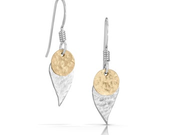 Leaf Earrings with Disc