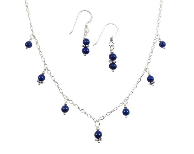 Dainty 4 mm Blue Beaded Lapis Lazuli 7 Drop Necklace & Earrings Jewelry Set