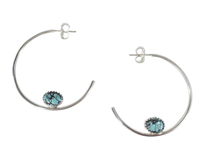 "Boho Turquoise 1 1/2"" Hoop Earrings"