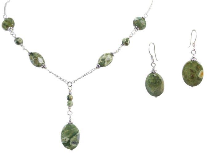 Rain Forest Jasper Oval Necklace & Earrings