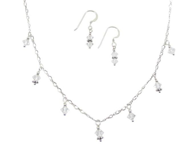 7 Drop Clear Swarovski Crystal Necklace & Earrings Set on Sterling Silver