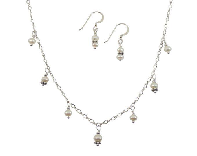 Fresh Water Pearls Necklace & Earrings Set - 4 mm
