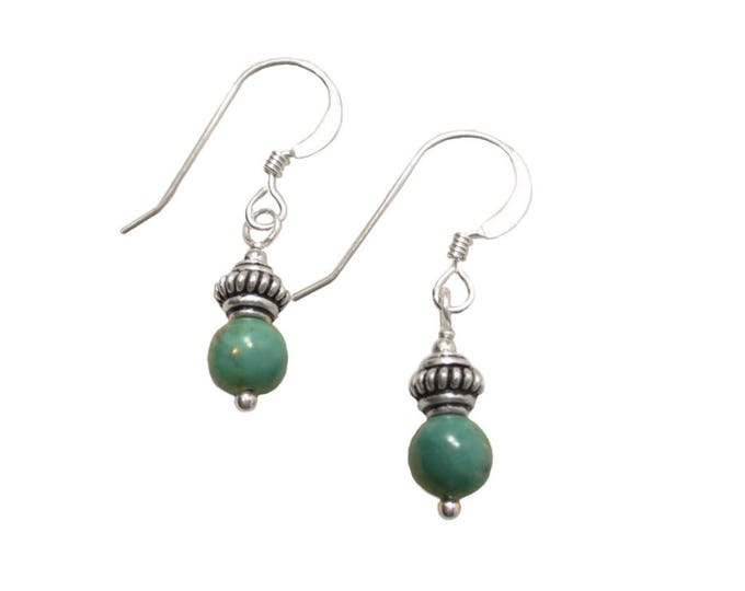 Turquoise Earrings with Bali Accents