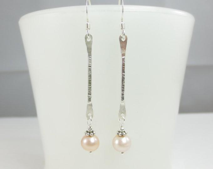 Bar Earrings With 6 mm Bead Drop