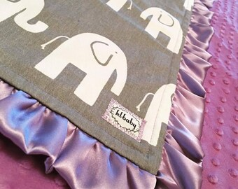 Lavender Grey Elephant Blanket