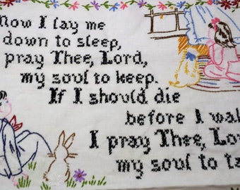 """Vintage Cross Sitch, Compleated by Hand, Lord's Prayer, Lg. 25"""" x 17"""""""