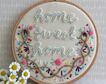 """Home sweet home- embroidery hoop, 6"""" hoop, new home, new house gift, hand embroidered flowers"""