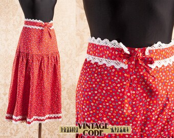 978dff955177 Bright Red Floral Ditsy print Gunne Sax style skirt / High Waist Crochet  trim Cotton Prairie Peasant skirt 70s vintage / size xs to small