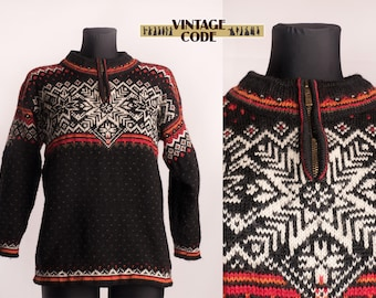 fda6652291 Black White Orange Dale Of Norway pure new wool sweater   Nordic Norway  Unisex winter Snowflake knitted sweater   size xs to Small