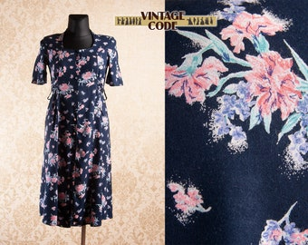 5f2c6673c2eea Dark blue Floral 90s vintage Button Down dress / Laura Ashley style 90s  Oversize Maternity Pregnacy dress by Dorothy Perkins / free size