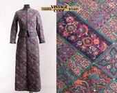 70s vintage Quilted Cotton Maxi dress Abstract ornamentla floral print Spring autumn Hippie Boho dress 70 60s Dress suit size Small
