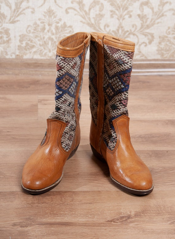 Camel Brown Leather Kilim Rug Tapestry Boots  / Mo