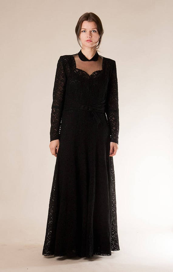 neckline very 40s Black Long 50s evening Illusion dress good sleeve vintage gown Medium Small condition lace size PPFtBWpwqz