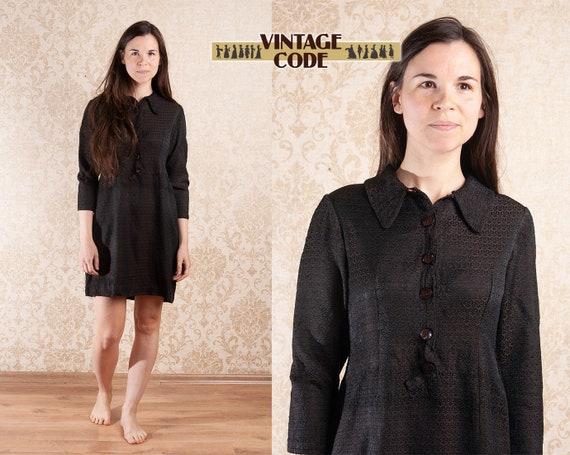 Dark Brown Copper Textured 40s Half sleeve dress /