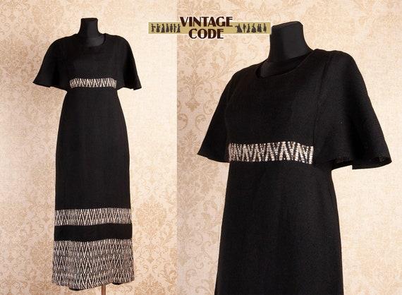 Black Woven Wool Maxi dress / Vintage Finnish Arol