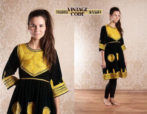 Dark Green Velvet Golden Afghan Folk Kuchi Dress