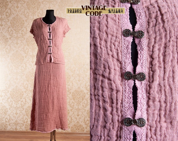 Pale Old Pink Gauze Cotton Cheesecloth Dress Set
