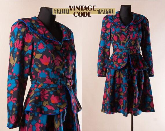 l 80s vintage  Sheer Wool Peplum dress  by Origin
