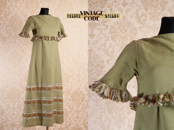 Olive Green Woven Wool Maxi dress / Vintage Finnis