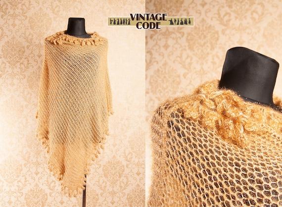Golden Crocheted  Fringed Poncho / Shiny Boho Even