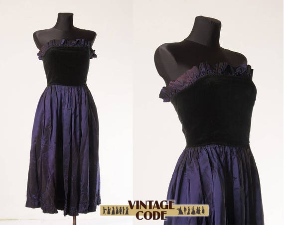 80s Velvet taffeta dress Radley / Blue Purple Blac