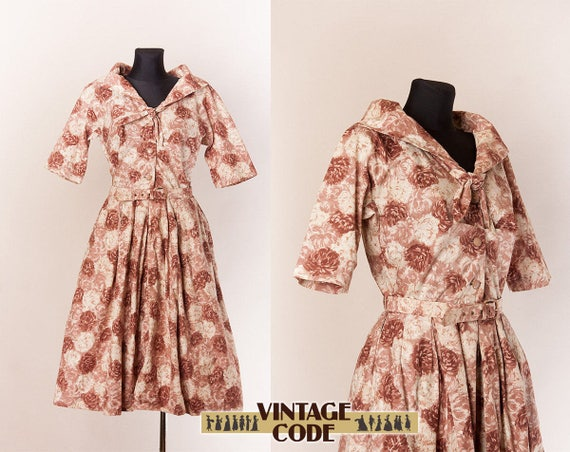 Beige Floral 50s Horrockses Cotton dress  / Floral