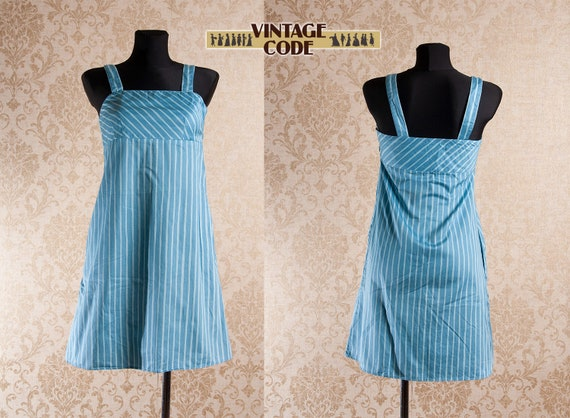 Light blue Marimekko Striped Strap Jokapoika dress