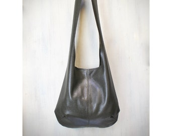 leather hobo bag , brown shoulder hobo , genuine italian leather bag, hand made, READY to shipping