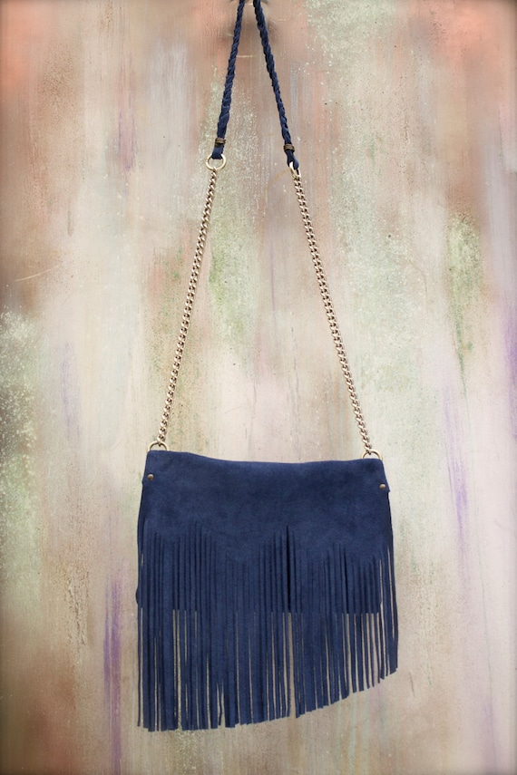 96b5c2e806 fringes bag genuine leather crossbody blue suede purse boho