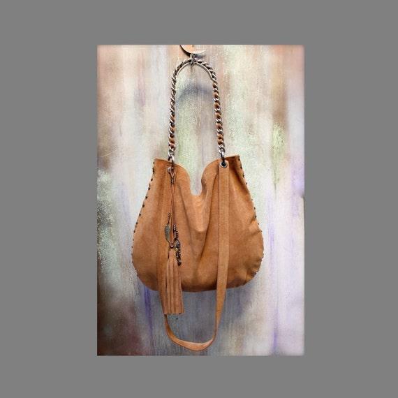 cddec6fe9fb5 Soft leather hobo bag studded handbag suede shoulder