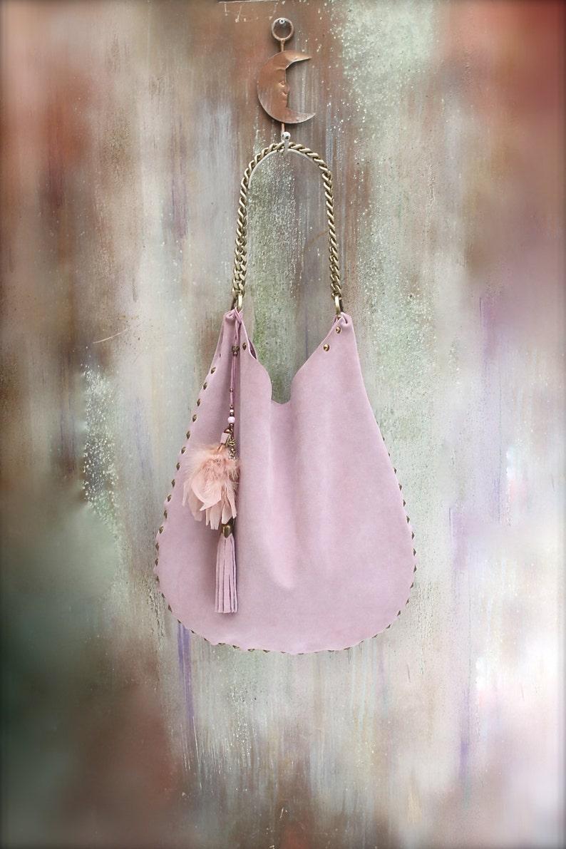 543acf0ac824 LEATHER HOBO BAG pink boho bag italian soft leather Hand