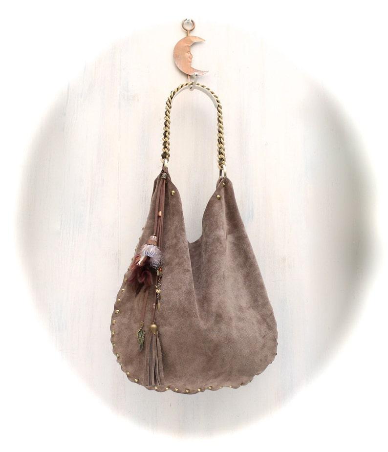 f32a6c8a6cb9 LEATHER HOBO BAG suede boho bag studded bags soft leather