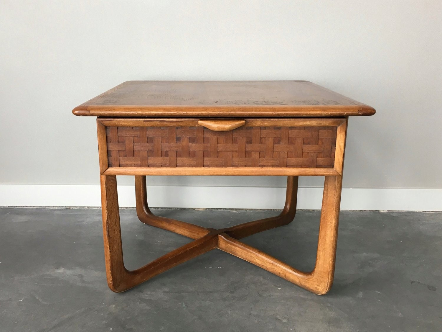 Vintage Mid Century Modern Lane Perception Square Side Table 60s End Table Retro Boho Tiki Furniture Woven Basket Weave Accent