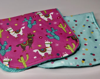 Baby Shower Gift New Baby Girl Gift Ready to Ship Purple and Coral Llama Burp Rags Llama Baby Burp Cloths Set of 3