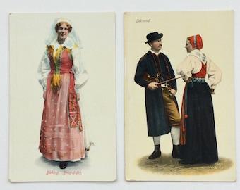 2 Vintage Swedish Postcards, Traditional Costumes, Unused
