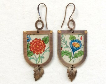 Upcycled Vintage Floral Tin Earrings, Repurposed Arched Frame, Brass
