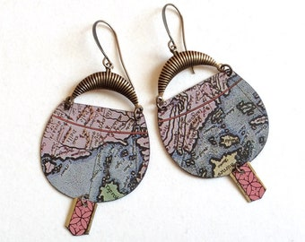 Upcycled Tin Map Earrings, Repurposed Tins, Round Disk Drop Earrings, Antiqued Brass